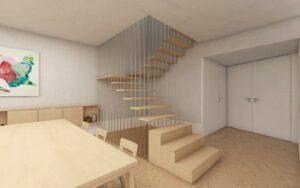 Pormenor da passagem da Sala 1 para a Cozinha e acesso aos pisos superior e inferior