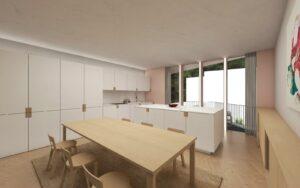 Cozinha com Terraço e vista para o Logradouro